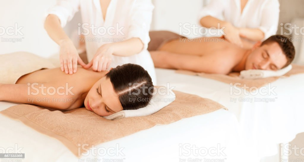 couple in spa stock photo