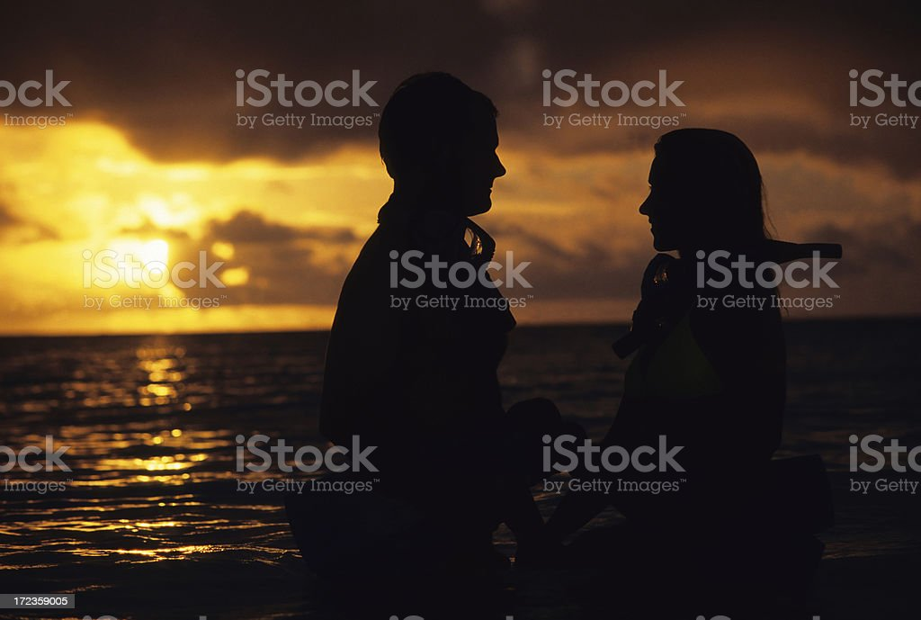 Couple In Sunset royalty-free stock photo