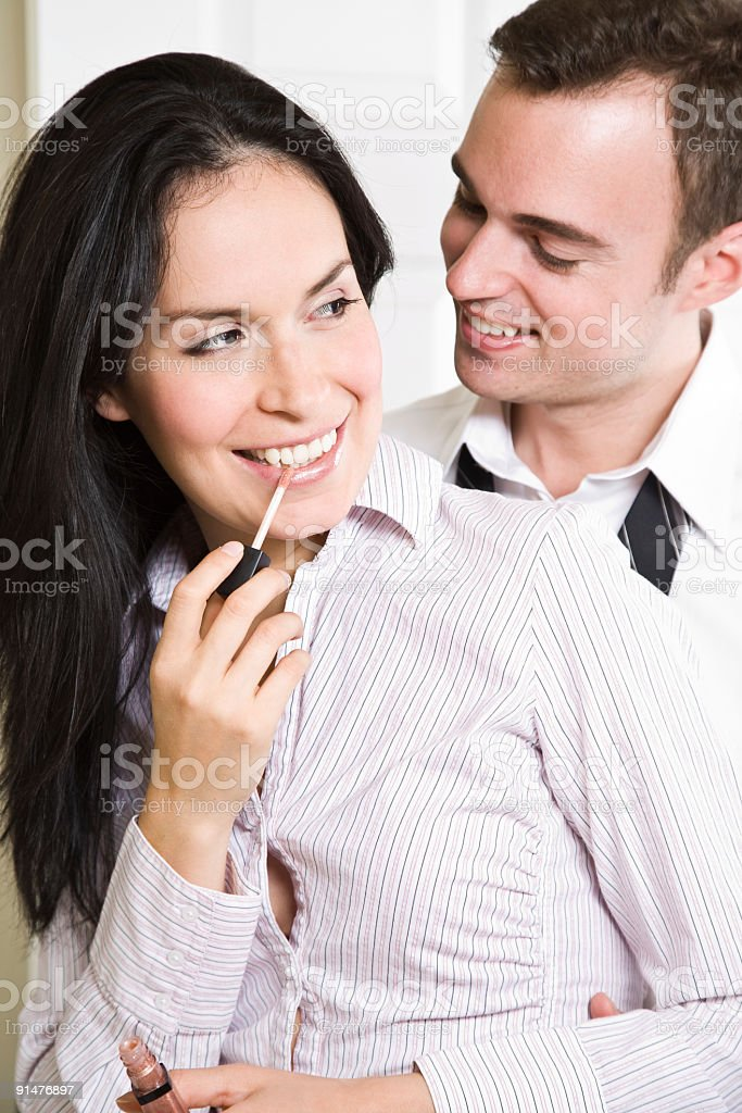 Couple in the bathroom royalty-free stock photo
