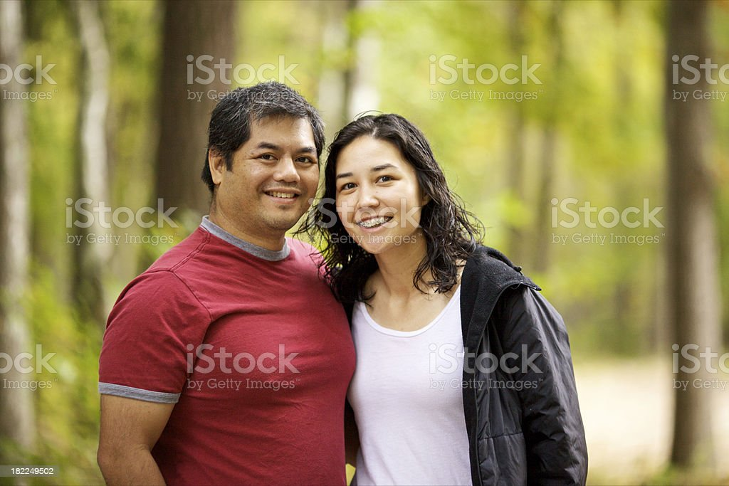 couple in the forest royalty-free stock photo