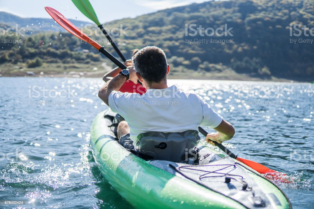 Couple in the kayak stock photo