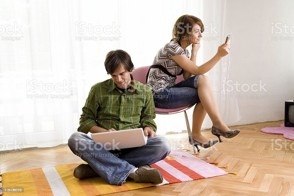 Couple in the living-room royalty-free stock photo