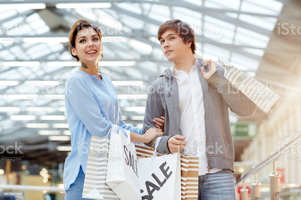 Couple in the mall stock photo