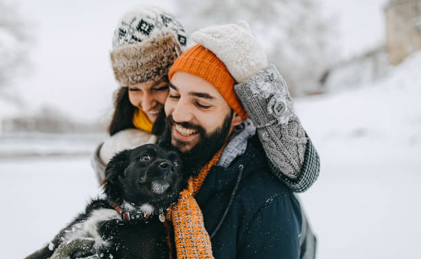 Couple in the snow play with dog stock photo