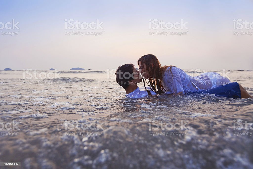 couple in the water stock photo