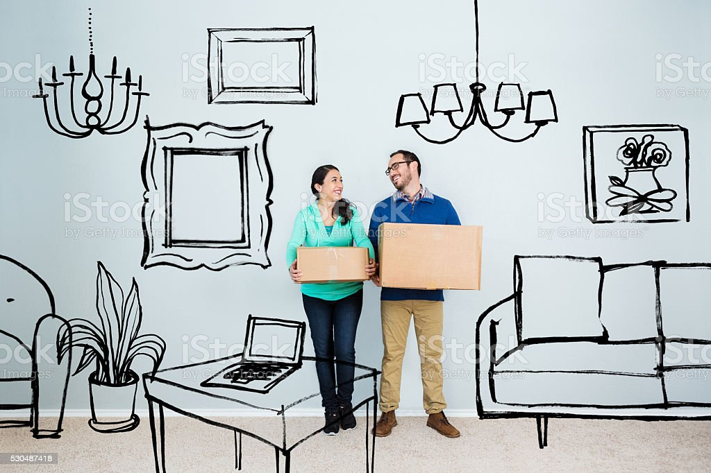 Couple in their dream home stock photo