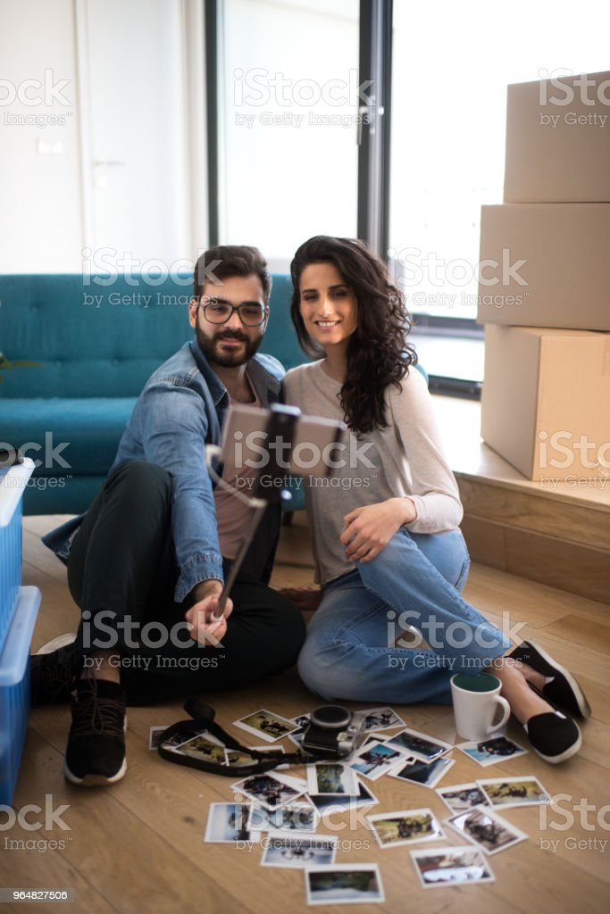 Couple in their new apartment royalty-free stock photo