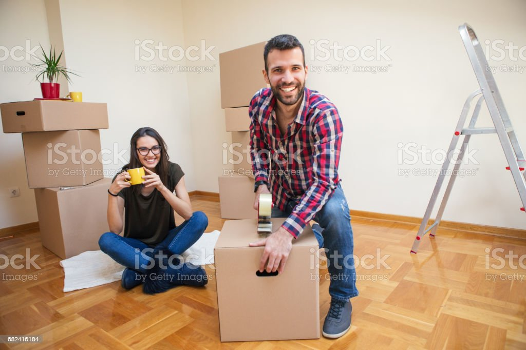 Couple in their new home royalty-free stock photo