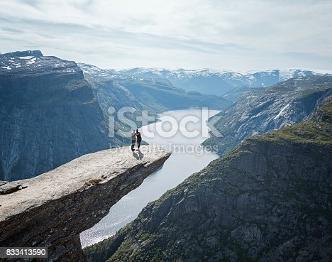 Couple looking at view in Trolltunga, Norway