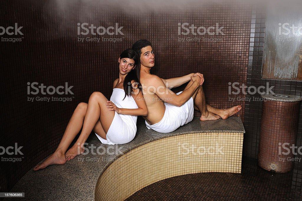 Couple in turkish sauna royalty-free stock photo
