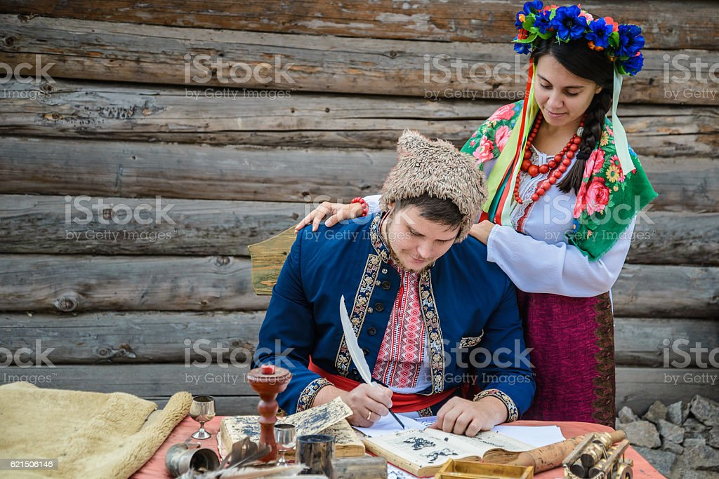couple in ukraine traditionl dress stock photo
