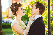 istock Couple in vintage costumes 826594854