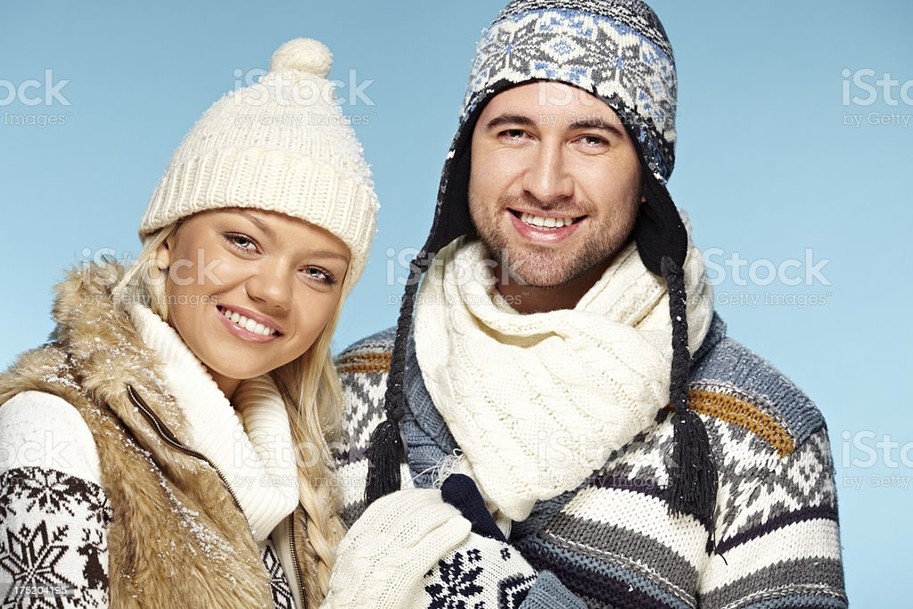 Couple in winter clothes royalty-free stock photo