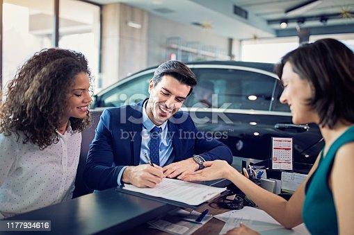 Couple is buying/lease new car and signing the contract