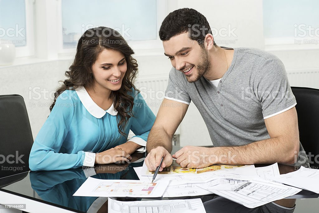 couple is considering future apartment design royalty-free stock photo