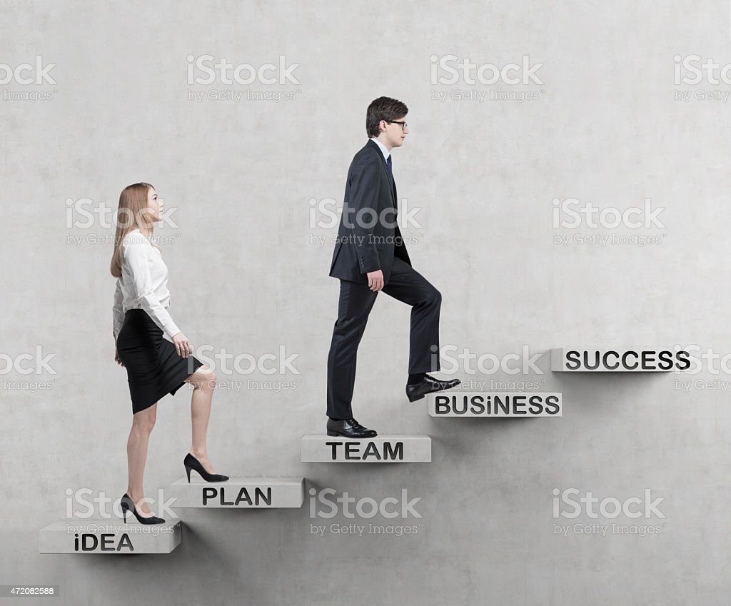 couple is going up. stock photo