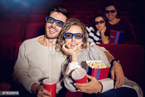 187095683 istock photo Couple is watching 3D movie in the cinema theater 873030916