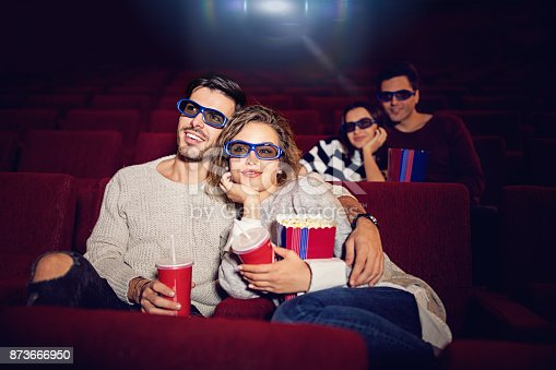 187095683 istock photo Couple is watching 3D movie in the cinema theater 873666950