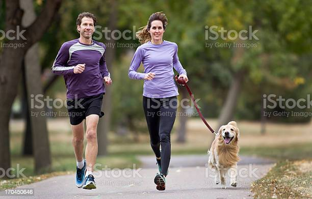 Couple jogging in the park with their golden retriever picture id170450646?b=1&k=6&m=170450646&s=612x612&h=j5r2m2dmsvfnohp0rlzz9d1ifglimts2yrks6zj9wz4=