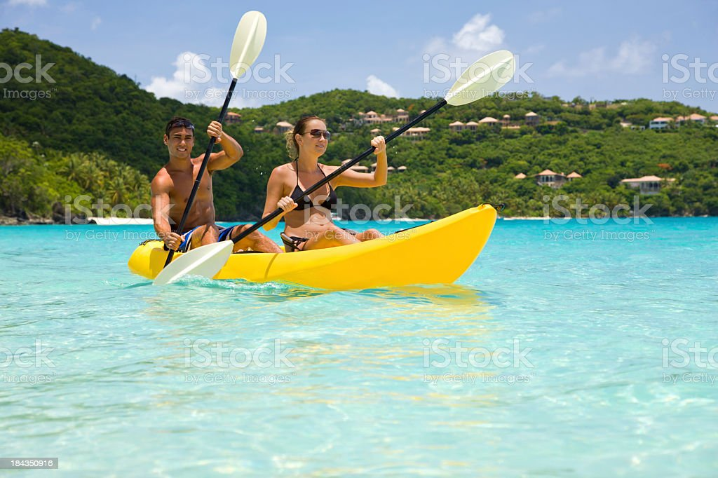 couple kayaking in the Virgin Islands royalty-free stock photo