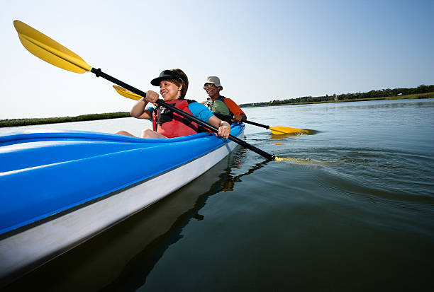 Couple kayaking. stock photo