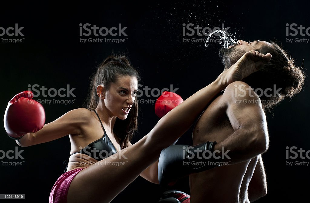 Couple kickboxing stock photo