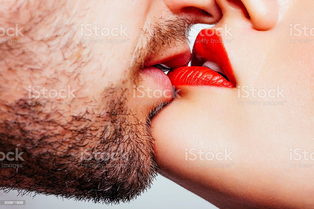 Couple kiss stock photo