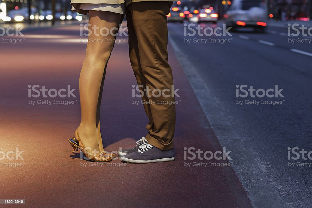 Couple Kissing in the Middle of Potsdamer Platz royalty-free stock photo