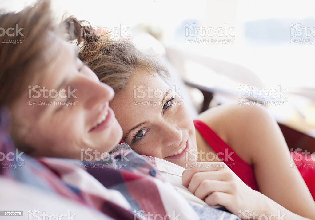 Couple laying together royalty-free stock photo