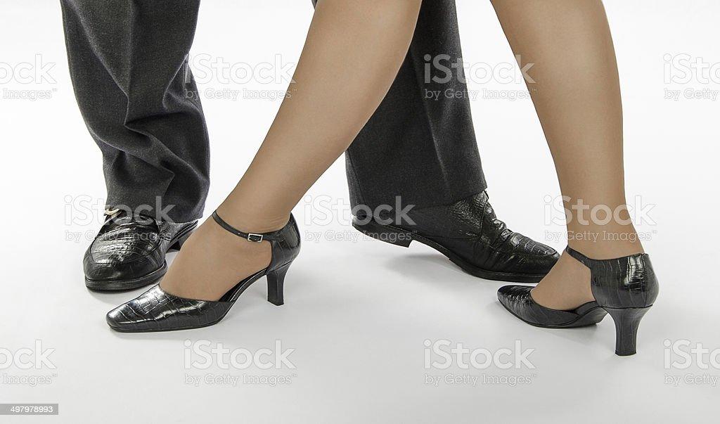 Couple legs standing in tango pose stock photo