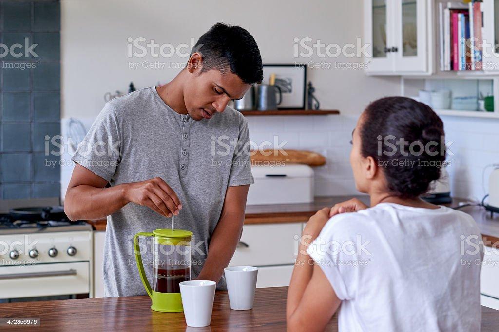 couple lifestyle kitchen stock photo
