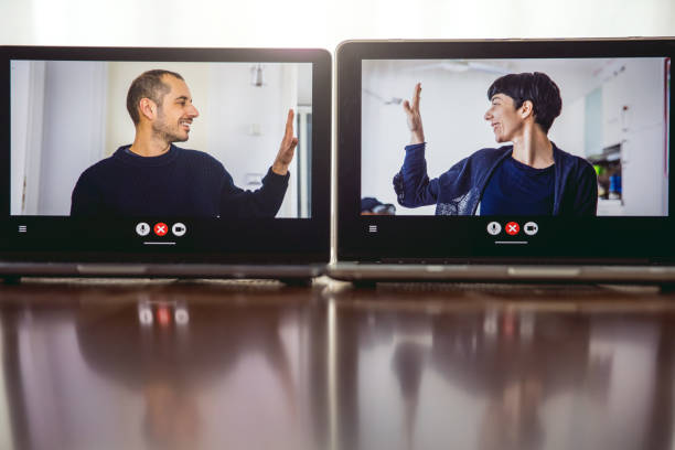 Couple living in Social relations at Covid19 social distancing times stock photo
