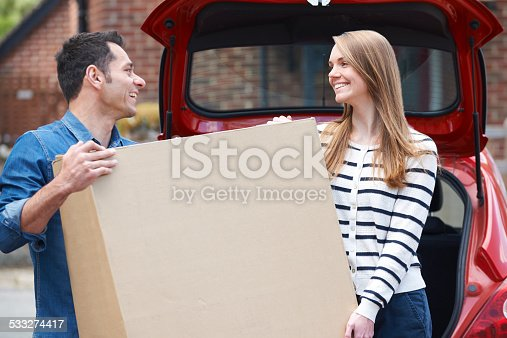Couple Loading Purchase Into The Boot Car