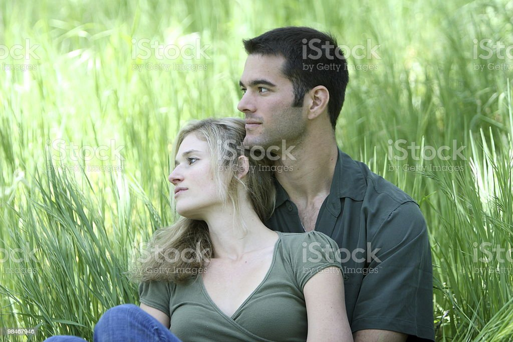 Couple looking away royalty-free stock photo