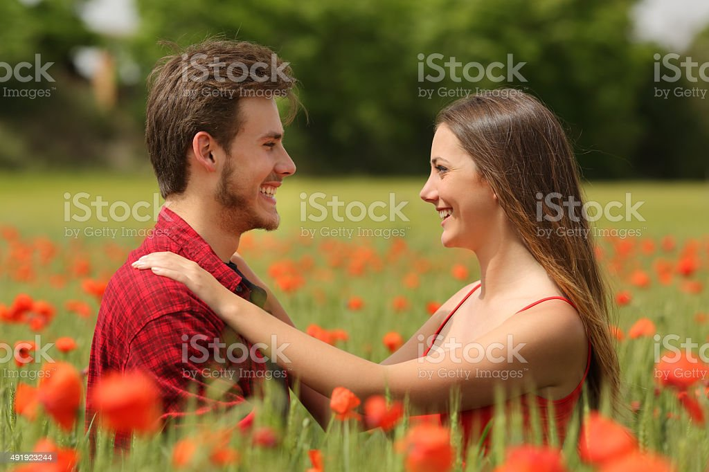 Couple looking each other affectionate in a red field stock photo