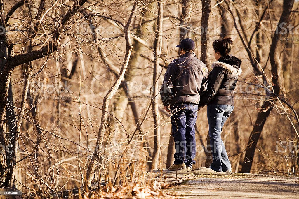 Couple Lost in Woods royalty-free stock photo
