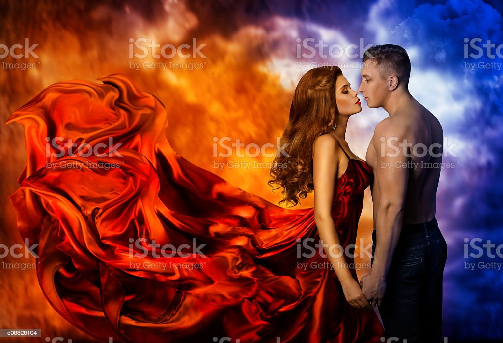Couple Love, Hot Fire Woman Cold Man, Romantic Kiss stock photo