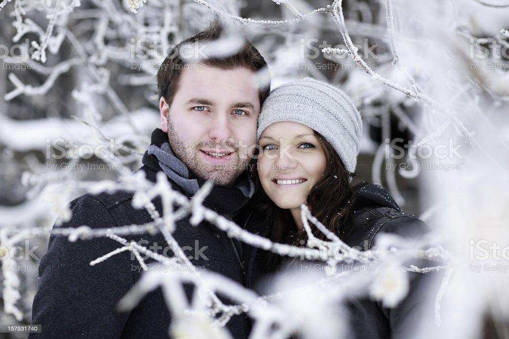 Couple Love Winter Wonderland royalty-free stock photo
