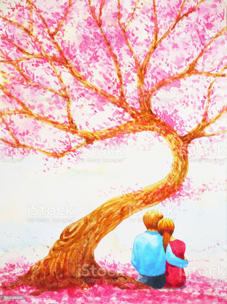 Couple Lover Sitting Under Love Tree Valentines Day ...