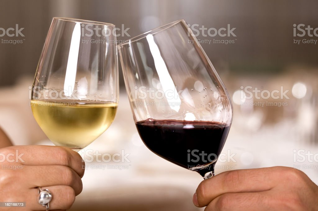 A couple making a toast together royalty-free stock photo