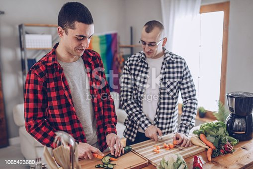 Two men, young homosexual couple at home, making lunch together.