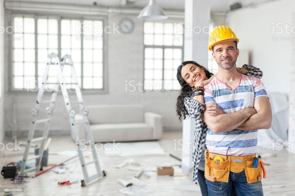 Couple making home renovation royalty-free stock photo