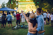 istock Couple making selfie on a music festival 1248395010