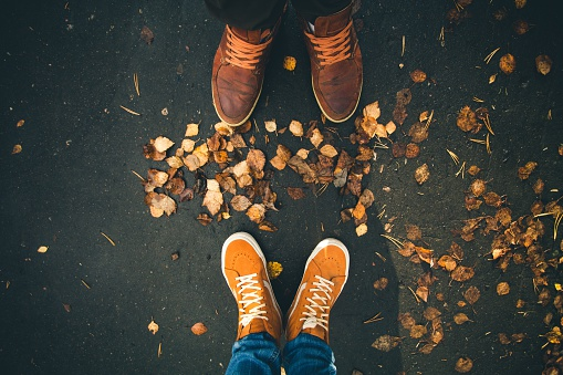 Couple Man and Woman Feet in Love Romantic Outdoor stock photo