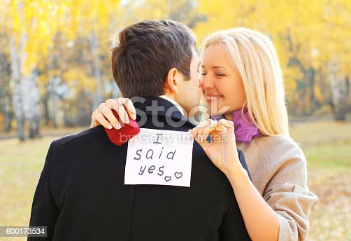 1129577106 istock photo couple, man proposes a woman to marry red box ring 600173534