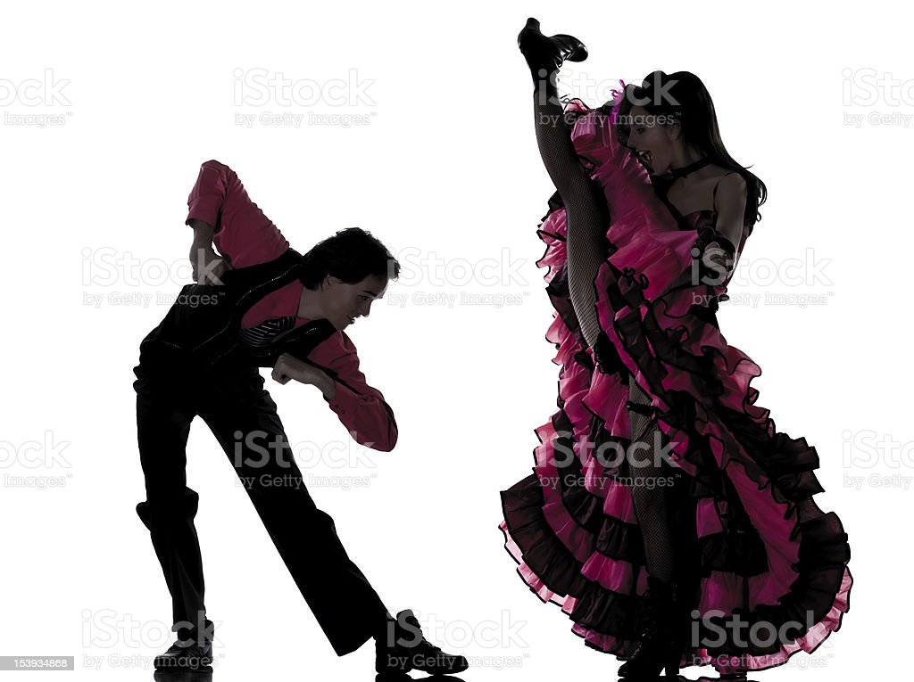 couple man woman dancer dancing french cancan stock photo