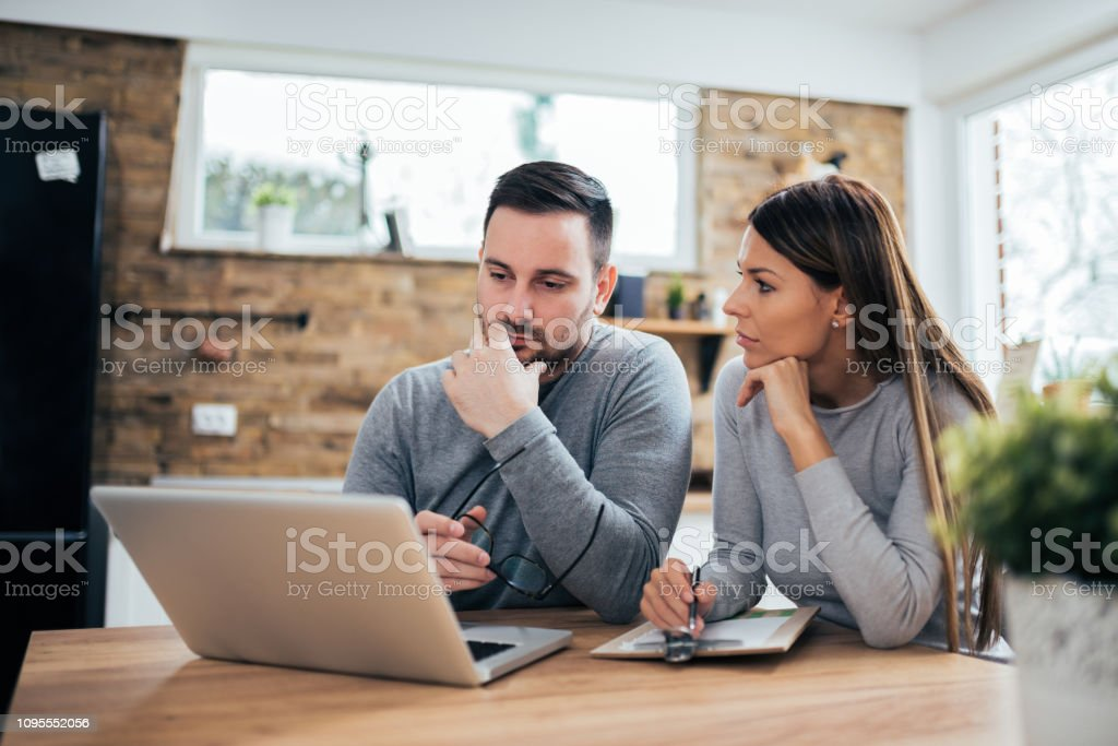 Couple managing finances. royalty-free stock photo