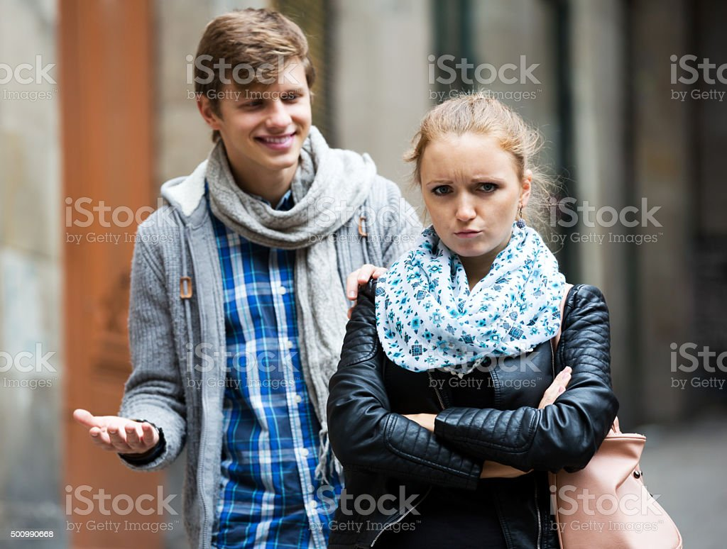 Couple met on the street stock photo