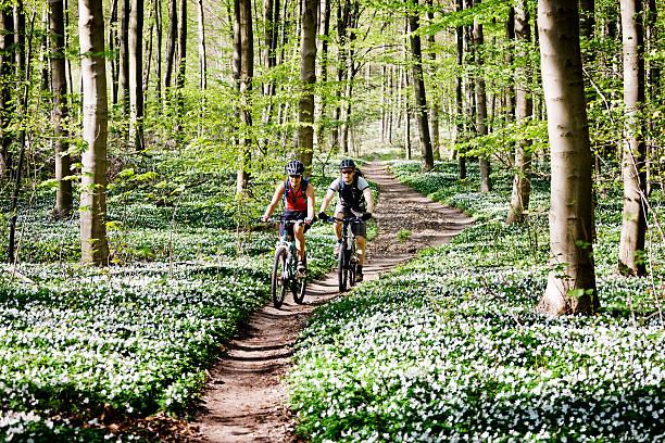 Couple mountain biking together  mountain biking stock pictures, royalty-free photos & images