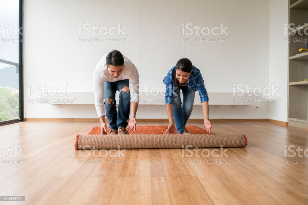 Couple moving house stock photo